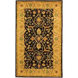 Safavieh Handmade Mahal Black/ Beige Wool Rug (3' x 5')