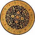 Safavieh Handmade Mahal Black/ Beige Wool Rug (6' Round)