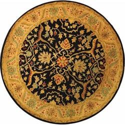 Safavieh Handmade Mahal Black/ Beige Wool Rug (8' Round)