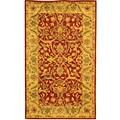 Handmade Antiquities Mahal Rust/ Beige Wool Rug (3' x 5')