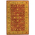 Handmade Antique Mahal Rust/ Beige Wool Rug (5' x 8')