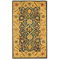 Handmade Antiquities Mahal Blue/ Beige Wool Runner (2'3 x 4')