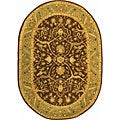 Handmade Antiquities Mahal Brown/ Blue Wool Rug (7'6 x 9'6 Oval)