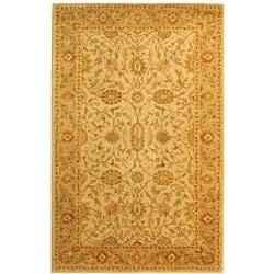 Handmade Antiquities Kashan Ivory/ Beige Wool Rug (5' x 8')