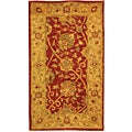 Handmade Antiquities Mashad Rust/ Ivory Wool Runner (2'3 x 4')