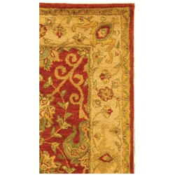 Handmade Antiquities Mashad Rust/ Ivory Wool Rug (3' x 5')