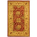 Handmade Antique Mashad Rust/ Ivory Wool Rug (3' x 5')