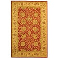 Handmade Antiquities Mashad Rust/ Ivory Wool Rug (4' x 6')