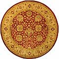Handmade Antiquities Mashad Rust/ Ivory Wool Rug (3'6 Round)