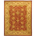 Handmade Antiquities Mashad Rust/ Ivory Wool Rug (6' x 9')