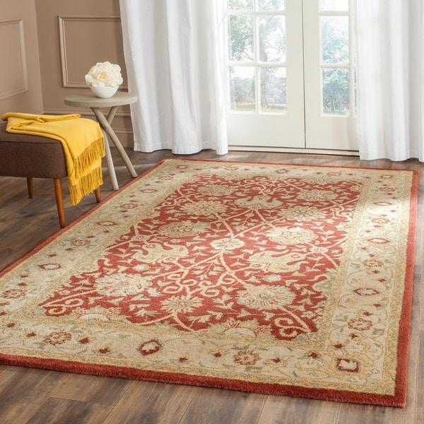 Safavieh Handmade Antiquities Mashad Rust/ Ivory Wool Rug (7'6 x 9'6)