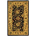 Handmade Antiquities Mashad Black/ Ivory Wool Runner (2'3 x 4')