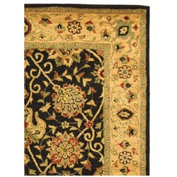 Handmade Antiquities Mashad Black/ Ivory Wool Rug (5' x 8')
