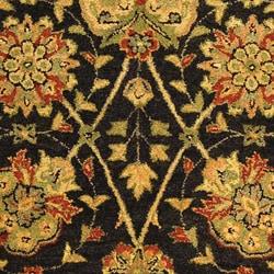 Handmade Antiquities Mashad Black/ Ivory Wool Rug (5' x 8')