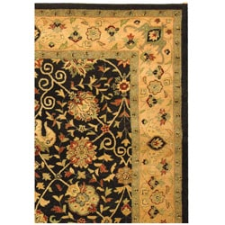 Safavieh Handmade Antiquities Mashad Black/ Ivory Wool Rug (9'6 x 13'6)