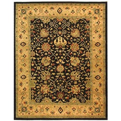 Handmade Antiquities Mashad Black/ Ivory Wool Rug (9'6 x 13'6)