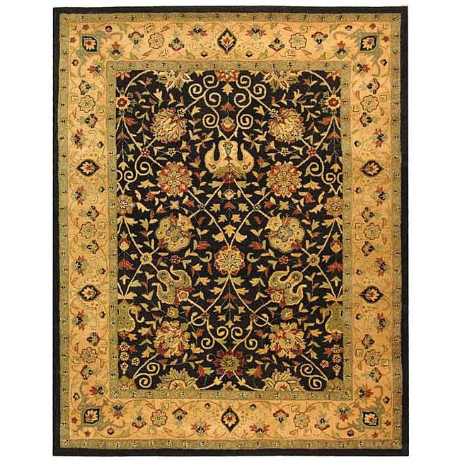 Safavieh Handmade Antiquities Mashad Black/ Ivory Wool Rug (6' x 9')