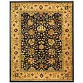 Handmade Antique Mashad Black/ Ivory Wool Rug (7'6 x 9'6)