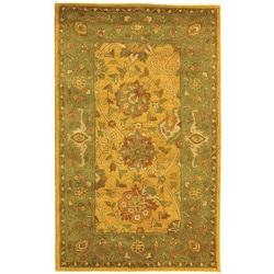 Handmade Mashad Gold/ Green Wool Rug (3' x 5')