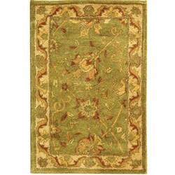 Handmade Antiquities Mashad Sage/ Ivory Wool Rug (2' x3')