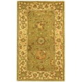 Handmade Antiquities Mashad Sage/ Ivory Wool Runner (2'3 x 4')