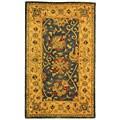 Handmade Antiquities Mashad Blue/ Ivory Wool Rug (3' x 5')