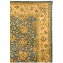 Handmade Antiquities Mashad Blue/ Ivory Wool Rug (9'6 x 13'6)