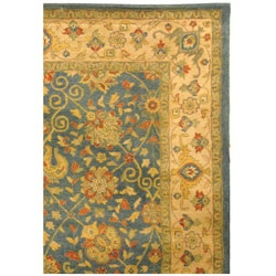 Safavieh Handmade Antiquities Mashad Blue/ Ivory Wool Rug (8'3 x 11')