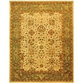 Handmade Antiquities Mashad Ivory/ Green Wool Rug (9'6 x 13'6)