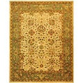 Handmade Antiquities Mashad Ivory/ Green Wool Rug (7'6 x 9'6)