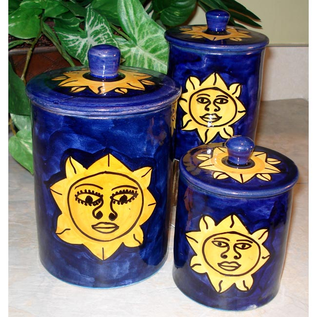Set of 3 Sunsmile Ceramic Canisters (Morocco)