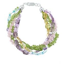 Glitzy Rocks Sterling Silver Multi-gemstone Twisted Bracelet