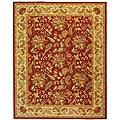 Handmade Paradise Red Wool Rug (7'9 x 9'9)
