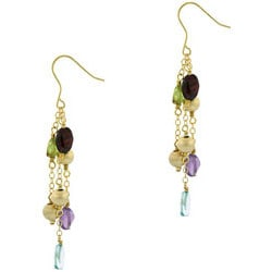 Glitzy Rocks 18k Gold Overlay Multi-gemstone Dangle Earrings
