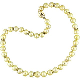 Miadora Signature Collection 14k Gold South Sea Pearl Sapphire and 1/5ct TDW Diamond Necklace (10-11 mm)