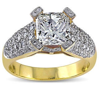 18k Yellow Gold 2 5/8ct TDW Princess Diamond Ring (K, VS2)