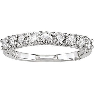Miadora 18k White Gold 3/4ct TDW Diamond Semi-eternity Ring (G-H, I1-I2)
