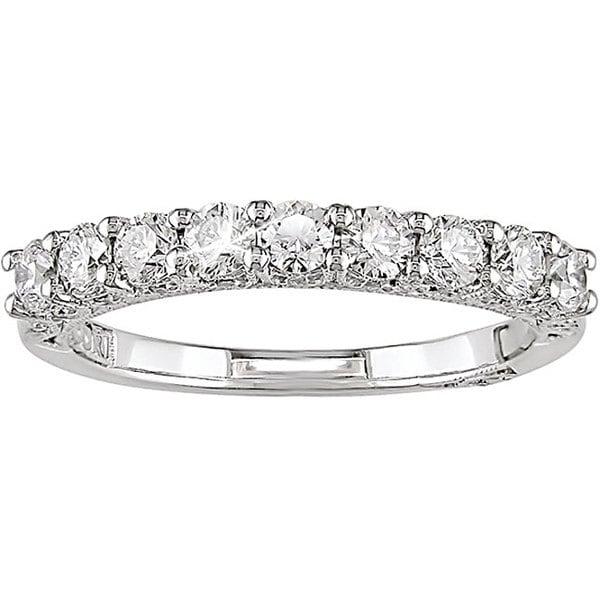 Miadora 18k White Gold 3/4ct TDW Diamond Semi-eternity Ring (G-H, I1-I2)