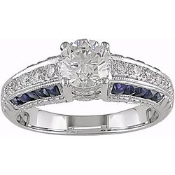 Miadora 18k Gold 1 1/10ct TDW Diamond and Sapphire Ring (G-H, VS2-SI1)