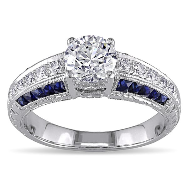 Miadora Signature Collection 18k Gold 1 1/10ct TDW Diamond and Sapphire Ring (G-H, VS2-SI1)