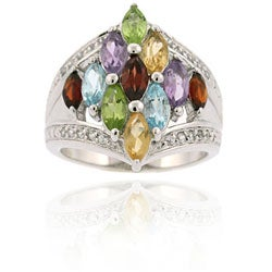 Glitzy Rocks Sterling Silver Multi-gemstone and Cubic Zirconia Ring