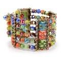 Sweet Romance Tango Millefiori Glass Cuff Bracelet
