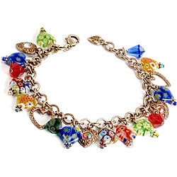 Sweet Romance Millefiori Glass Hearts Retro Charm Bracelet