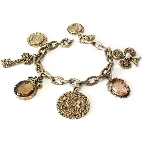 Sweet Romance Ancient Coins & Intaglios Charm Bracelet