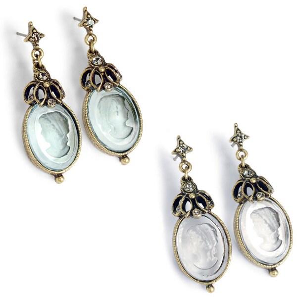 Sweet Romance Vintage Intaglio Glass Earrings