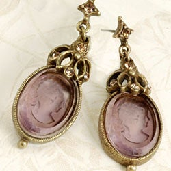 Sweet Romance Vintage Intaglio Glass Earrings