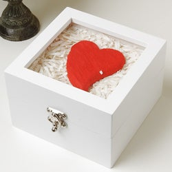 Kabella Red Heart in White Lacquer Jewelry Box