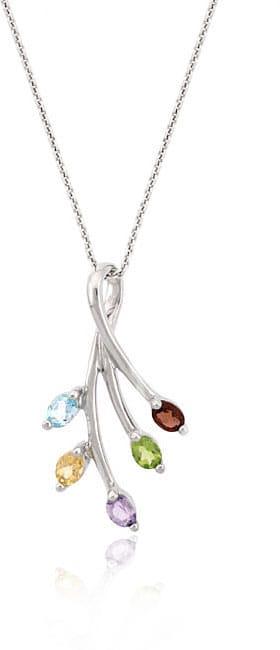 Glitzy Rocks Sterling Silver Multi-gemstone Leaf Necklace