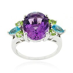 Glitzy Rocks Sterling Silver Semi-precious Cocktail Ring