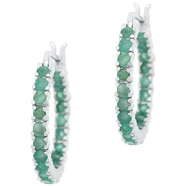 Glitzy Rocks Sterling Silver Inside-out Emerald Hoop Earrings